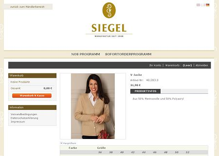 Karl Siegel Onlineshop